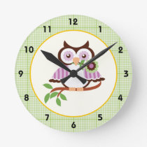 Spring owl with green plaid border wall clock