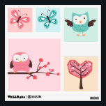"""Spring Owls Wall Decal<br><div class=""""desc"""">Beautiful custom wall decals feature adorable vector illustrations of owls,  butterflies,  flowers,   and cherry blossom trees. Perfect to decorate any children&#39;s room,  nursery,  playroom,  etc</div>"""