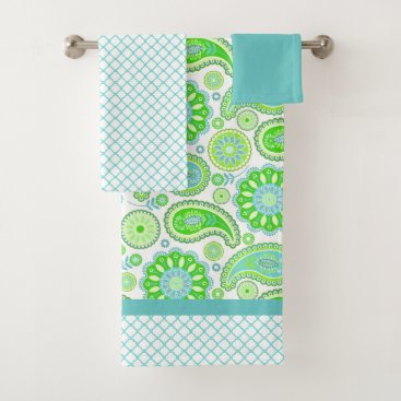 Aqua Spring Paisley Bath Towel Set
