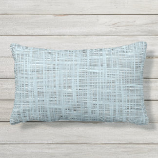 Spring Pastel Blue Color Faux Jute Fabric Pattern Outdoor Pillow