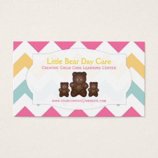 Spring Pastel Chevron Little Bear Business Cards
