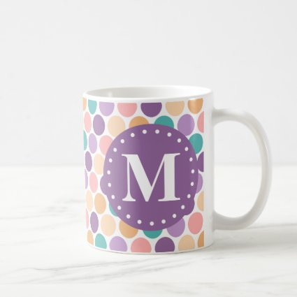 Spring Pastel Polka Dots Pattern with Monogram Coffee Mug