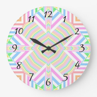Spring Pastels Seamless Abstract Large Clock