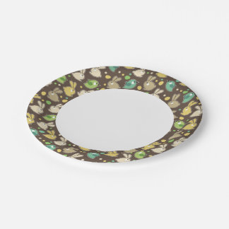 spring pattern with easter eggs,birds 7 inch paper plate