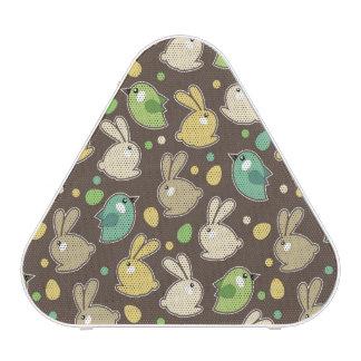 spring pattern with easter eggs,birds speaker