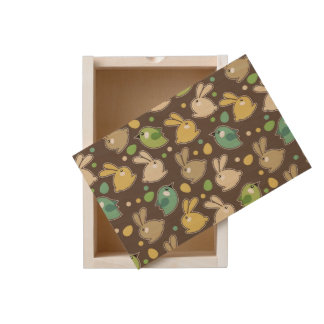 spring pattern with easter eggs,birds wooden keepsake box