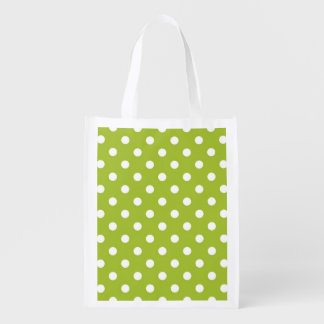 Spring pattern with white polka dots grocery bag