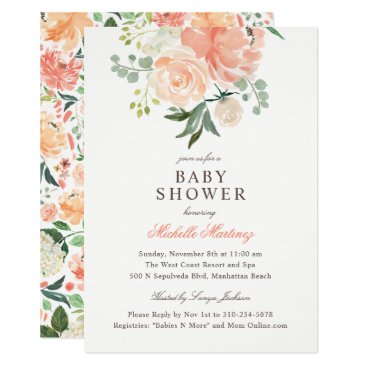 Toddler & Baby themed Spring Peach Blush Watercolor Floral Baby Shower Card