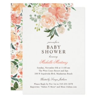 Spring Peach Blush Watercolor Floral Baby Shower Invitation