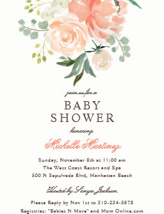 Spring baby shower invitations zazzle spring peach blush watercolor floral baby shower invitation filmwisefo