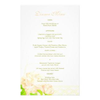 Spring Peach Peony Wedding Dinner Menus Flyer
