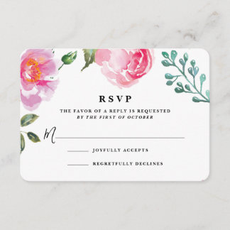Spring Peony Floral Wedding Reply Card