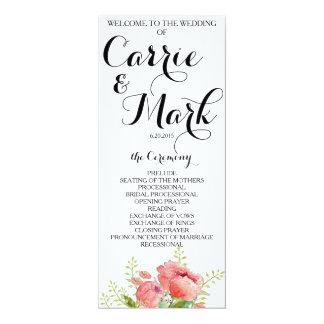 Spring Peony Wedding Program Card