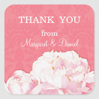 Spring Peony Wedding Thank You Favor Stickers