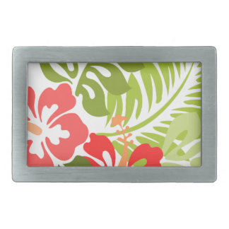 Spring Pink and Red Hibiscus Flowers Hawaii Belt Buckle