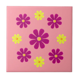 Spring pink and yellow flowers for kitchen ceramic tile