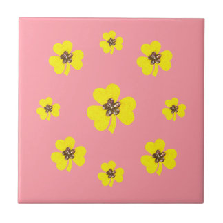 Spring pink and yellow, yellow clovers for kitchen tile