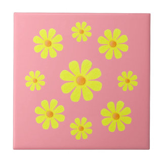Spring pink and yellow, yellow flowers for kitchen tile