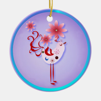 Spring Pink Bird Of Happiness  Necklace Ceramic Ornament