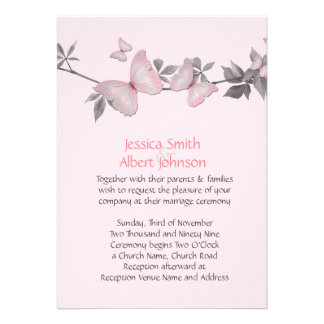 Spring Pink Butterfly Wedding Invite