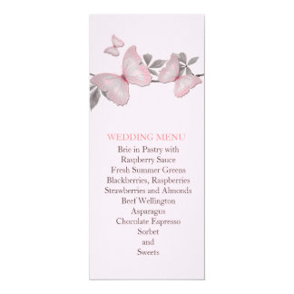 Spring Pink Butterfly Wedding Menu Personalized Invitations