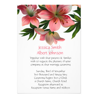 Spring Pink Flowers Wedding Invite