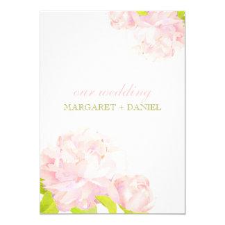 "Spring Pink + Green Bohemian Peony Wedding Invites 5"" X 7"" Invitation Card"