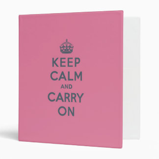 Spring Pink Keep Calm and Carry On Slate on Vinyl Binders