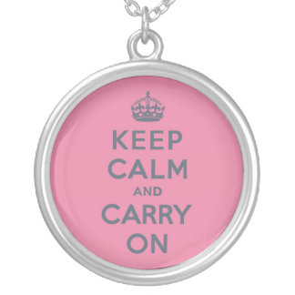 Spring Pink Keep Calm and Carry On Slate on Silver Plated Necklace
