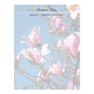 spring pink magnolia flowers in blue sky letterhead