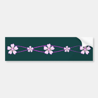 Spring pink ornament with flowers bumper sticker