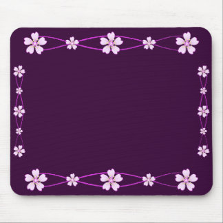 Spring pink ornament with flowers mouse pad