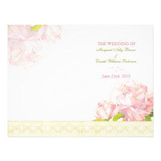 Spring Pink Peony Bi Fold Wedding Program