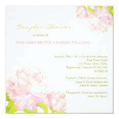 Spring Pink Peony Wedding Couples Shower Card at Zazzle