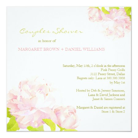Spring Pink Peony Wedding Couples Shower Card