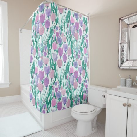 Spring Pink Purple Tulip Floral Watercolor Shower Curtain