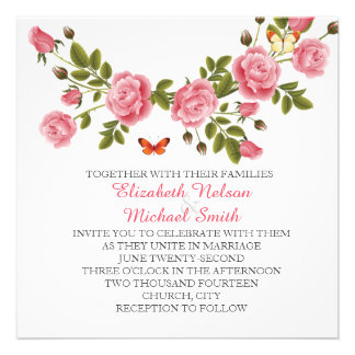 Spring Pink Roses Wreath Wedding Invite