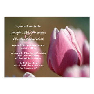 Spring pink tulip flowers wedding invitation