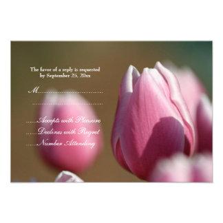 Spring pink tulip flowers wedding RSVP card Custom Invite