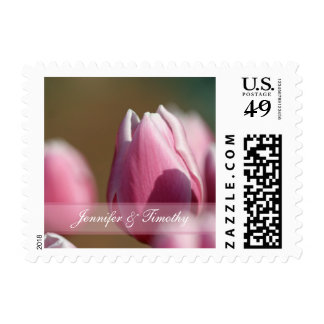 Spring pink tulip flowers wedding stamps