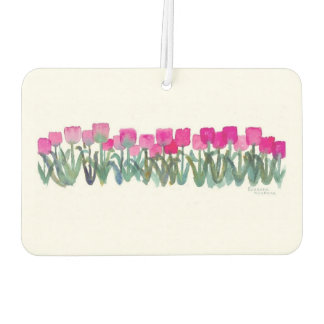 Spring Pink Tulips Air Freshener, New Car Scent Car Air Freshener