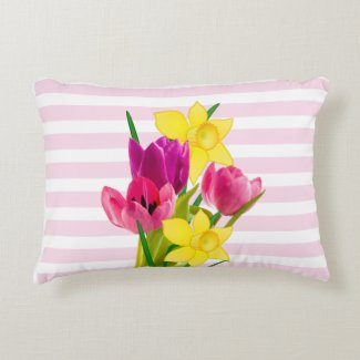 Spring Pink Tulips and Daffodils Accent Pillow