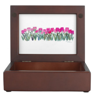 Spring Pink Tulips Keepsake Box