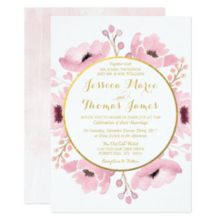 Spring Pinks Watercolor Floral Wedding Collection Card at Zazzle