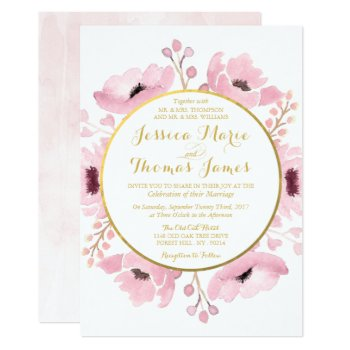 Spring Pinks Watercolor Floral Wedding Collection Card by Invitation_Republic at Zazzle