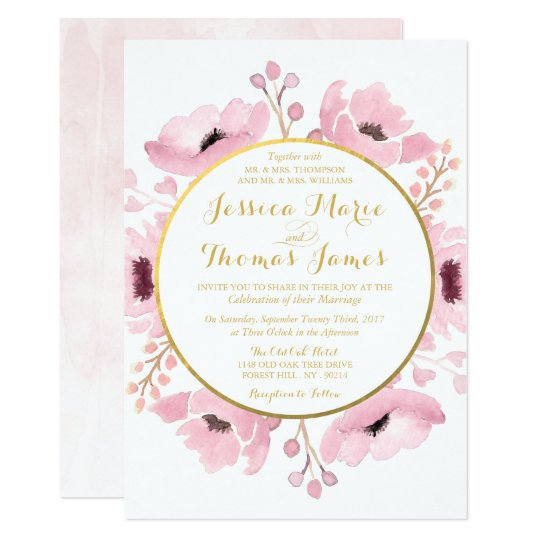 Watercolor wedding invitations announcements zazzle spring pinks watercolor floral wedding collection card junglespirit Image collections