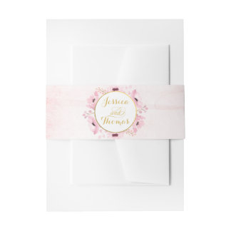 Spring Pinks Watercolor Floral Wedding Collection Invitation Belly Band