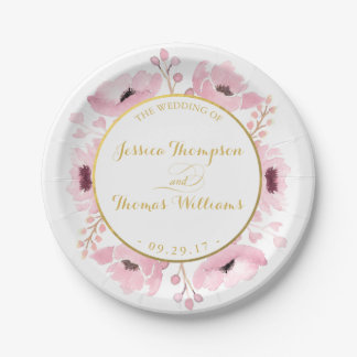 Spring Pinks Watercolor Floral Wedding Collection Paper Plate