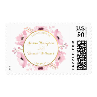 Spring Pinks Watercolor Floral Wedding Collection Postage