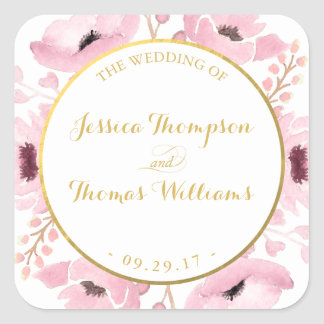 Spring Pinks Watercolor Floral Wedding Collection Square Sticker
